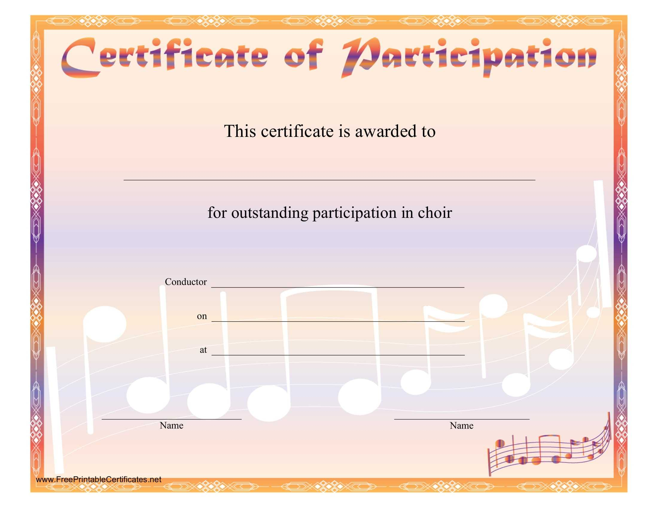 8+ Free Choir Certificate Of Participation Templates - Pdf Within Choir Certificate Template