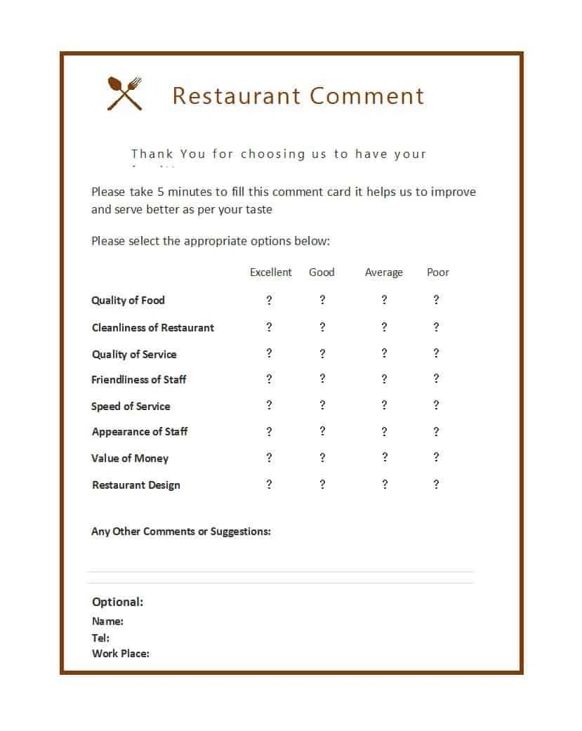 9 Restaurant Comment Card Templates – Free Sample Templates With Regard To Survey Card Template