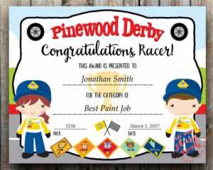 98 Of The Most Awesome Pinewood Derby Award Ideas ~ Cub in Pinewood Derby Certificate Template