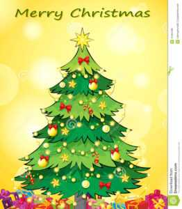 A Christmas Card Template With A Green Christmas Tree Stock in 3D Christmas Tree Card Template
