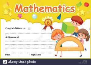 A Mathematic Certificate Template Illustration Stock Vector in Math Certificate Template
