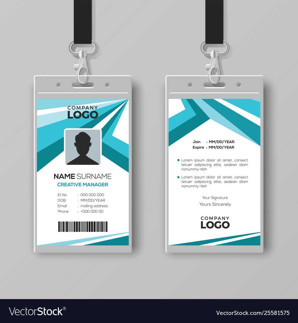 Abstract Corporate Id Card Design Template Inside Company Id Card Design Template