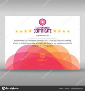Abstract Creative Pink Star Performer Certificate — Stock for Star Performer Certificate Templates