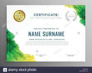 Abstract Green Certificate Of Appreciation Template Stock within Boot Camp Certificate Template