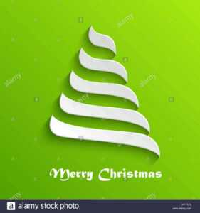 Abstract Modern 3D White Christmas Tree On Green Background within 3D Christmas Tree Card Template