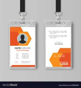 Abstract Orange Id Card Design Template pertaining to Conference Id Card Template
