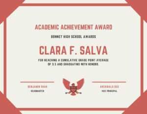 Academic Achievement Award Certificate – Templatescanva with Academic Award Certificate Template