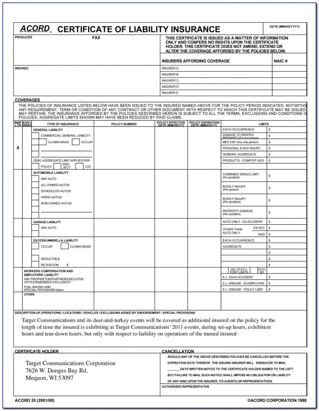 Accord Certificate Of Liability Insurance Form For Acord Insurance Certificate Template