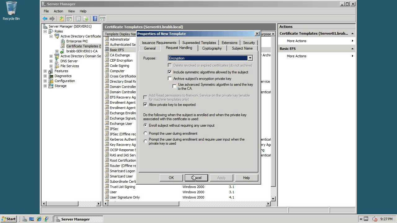 Act 11 3 Creating An Efs Certificate Template For Active Directory Certificate Templates
