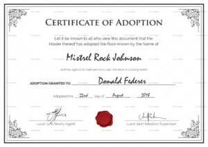 Adoption Birth Certificate Template throughout Pet Adoption Certificate Template