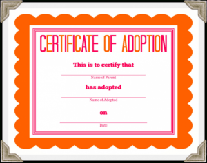 Adoption Docs Certificate Templates Printable Within Free Funny Certificate Templates For Word