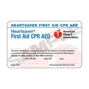 Aha Heartsaver® First Aid Cpr Aed Course Completion Cards – 6 Pack  Worldpoint® in Cpr Card Template