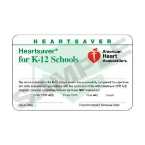 Aha Heartsaver® For K-12 Schools Course Completion Cards – 24 Pack  Worldpoint® inside Cpr Card Template