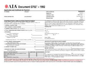 Aia Forms G702 & G703 Application, Certificate, And Continuation pertaining to Construction Payment Certificate Template