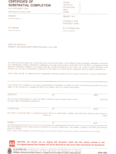 Aia G704 – Fill Online, Printable, Fillable, Blank | Pdffiller for Certificate Of Substantial Completion Template