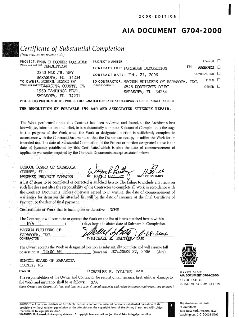 Aia G704 - Fill Online, Printable, Fillable, Blank | Pdffiller Pertaining To Certificate Of Substantial Completion Template
