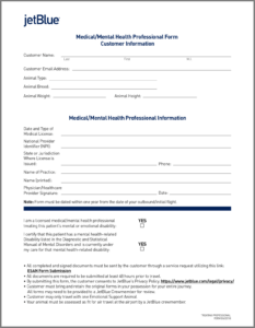 Airline Requirements For Traveling With An Emotional Support in Fit To Fly Certificate Template