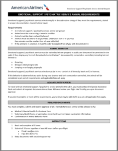 Airline Requirements For Traveling With An Emotional Support with Fit To Fly Certificate Template