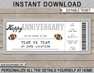Anniversary Football Gift Tickets within Anniversary Certificate Template Free