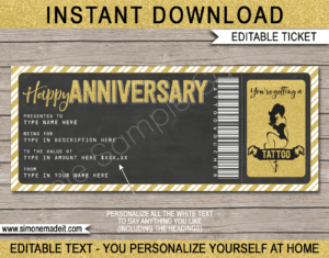 Anniversary Tattoo Gift Vouchers within Anniversary Certificate Template Free