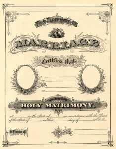 Antique Ephemera Clip Art – Printable Marriage Certificate in Blank Marriage Certificate Template