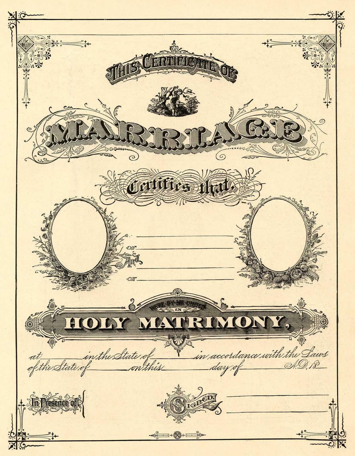 Antique Ephemera Clip Art - Printable Marriage Certificate In Blank Marriage Certificate Template