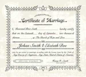 Antique Marriage Certificate Template | Vector Vintage With Certificate Of Marriage Template