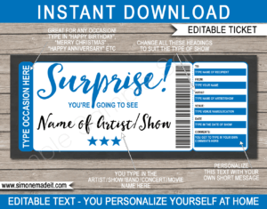 Any Occasion Concert Ticket Gift Voucher – Colors for Movie Gift Certificate Template