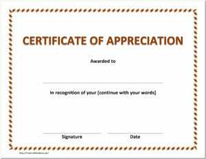 Appreciation Certificate Printable Free intended for Certificate Of Appreciation Template Doc