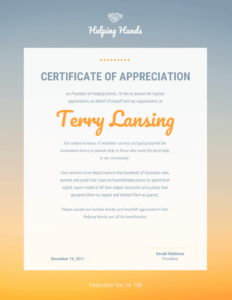 Appreciation Certificate regarding Volunteer Award Certificate Template