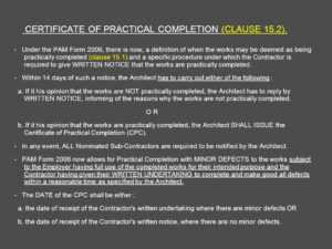 Architect's Certification Under The Pam Contract 2006 for Practical Completion Certificate Template Jct