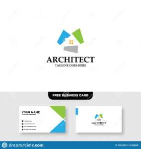 Architecture Company, Construction, Architect, Vector Logo with Ibm Business Card Template