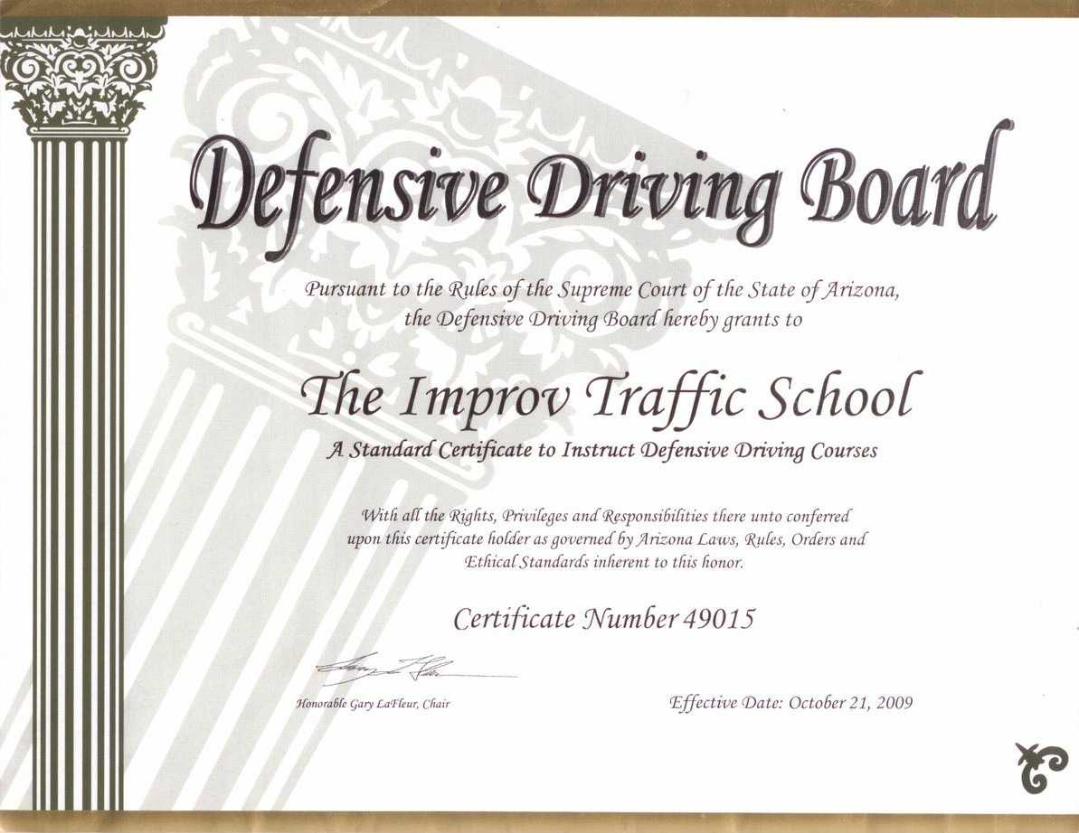 Arizona Defensive Driving Schoolimprov In Safe Driving Certificate Template