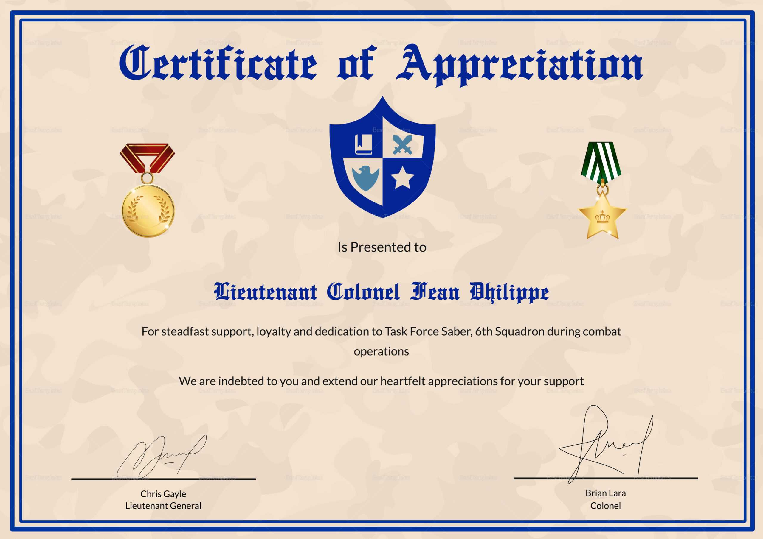 Army Certificate Of Appreciation Template Throughout Army Certificate Of Appreciation Template