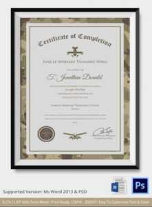 Army Certificate Of Completion Template – Diff throughout Army Certificate Of Completion Template