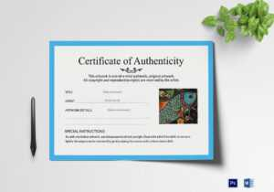 Artwork Authenticity Certificate Template for Certificate Of Authenticity Template