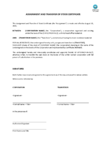 Assignment And Transfer Of Stock Certificate | Templates At within Corporate Secretary Certificate Template