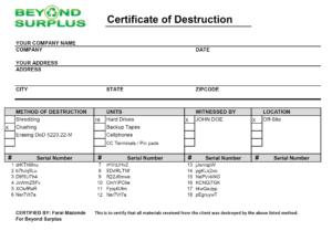 Atlanta Free Hard Drive Shredding – throughout Hard Drive Destruction Certificate Template