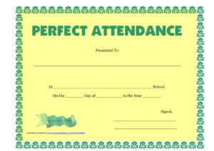 Attendance Certificate – Morningperson.co with Perfect Attendance Certificate Free Template