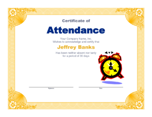 Attendance Clipart Participation Student, Attendance throughout Perfect Attendance Certificate Free Template