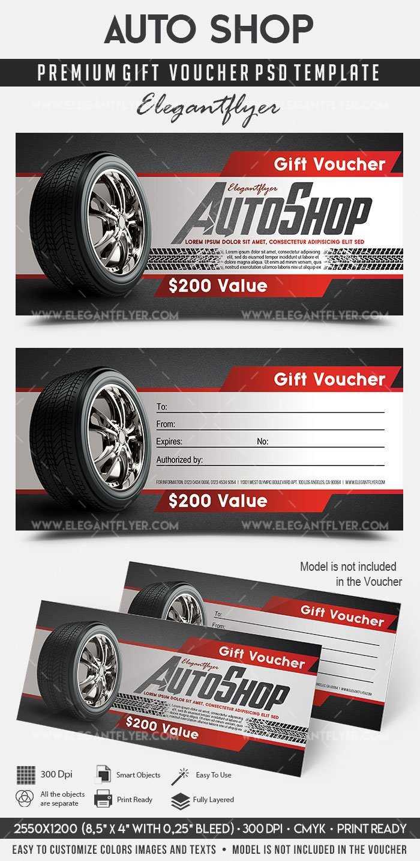 Auto Shop – Premium Gift Certificate Psd Template Inside Automotive Gift Certificate Template