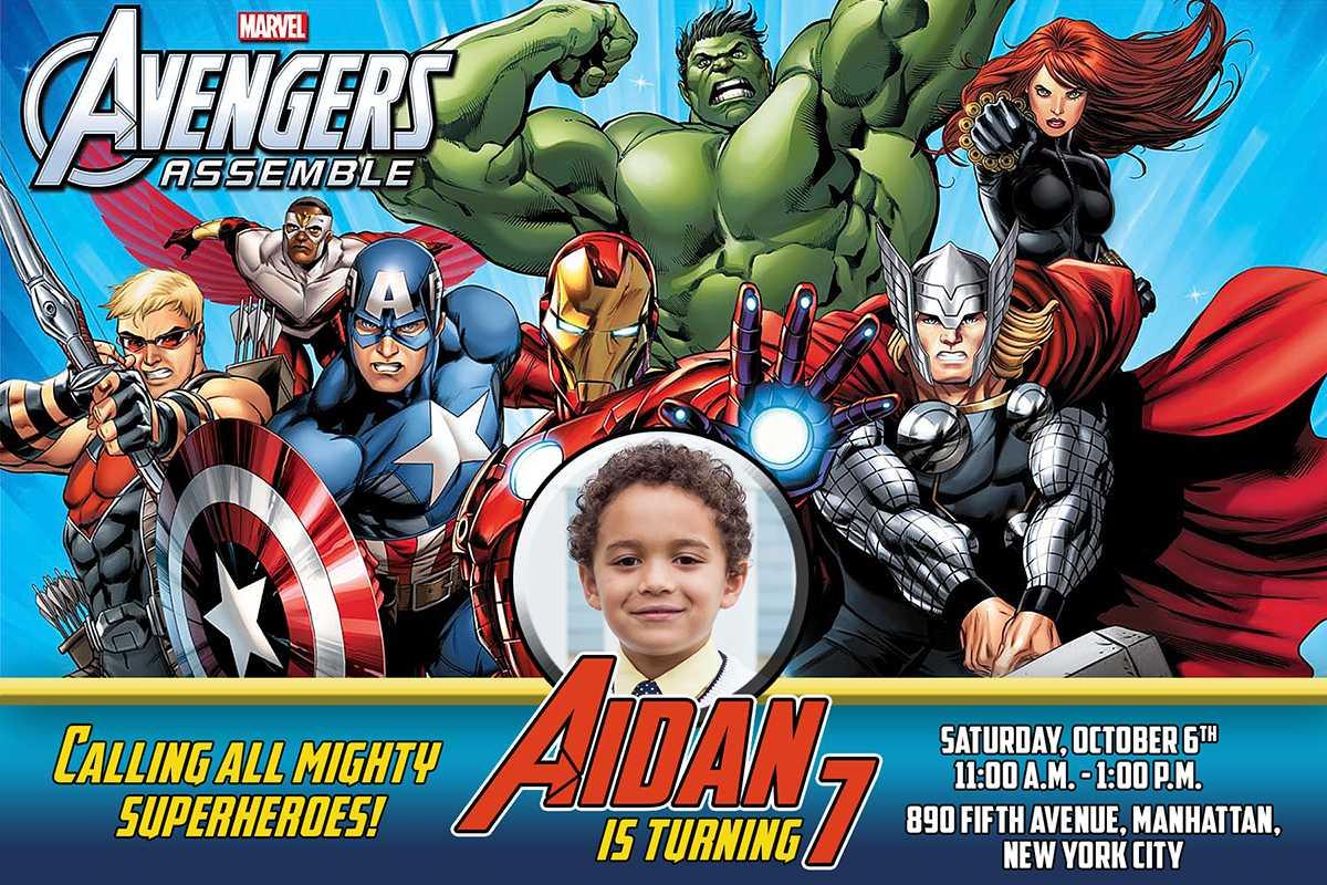 Avengers Birthday Invitation Throughout Avengers Birthday Card Template