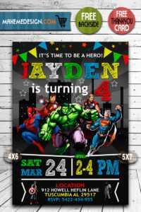 Avengers Birthday Invitations, Superhero Invitation, Avengers Invite,  Superhero Invite, Avengers Birthday Party, Avengers Printable, Avenger  Card, Diy throughout Avengers Birthday Card Template