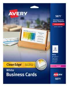 "Avery Clean Edge Business Cards, Uncoated, Two-Side Printing, 2"" X 3-1/2"",  200 Cards (5871) – Walmart inside Office Depot Business Card Template"
