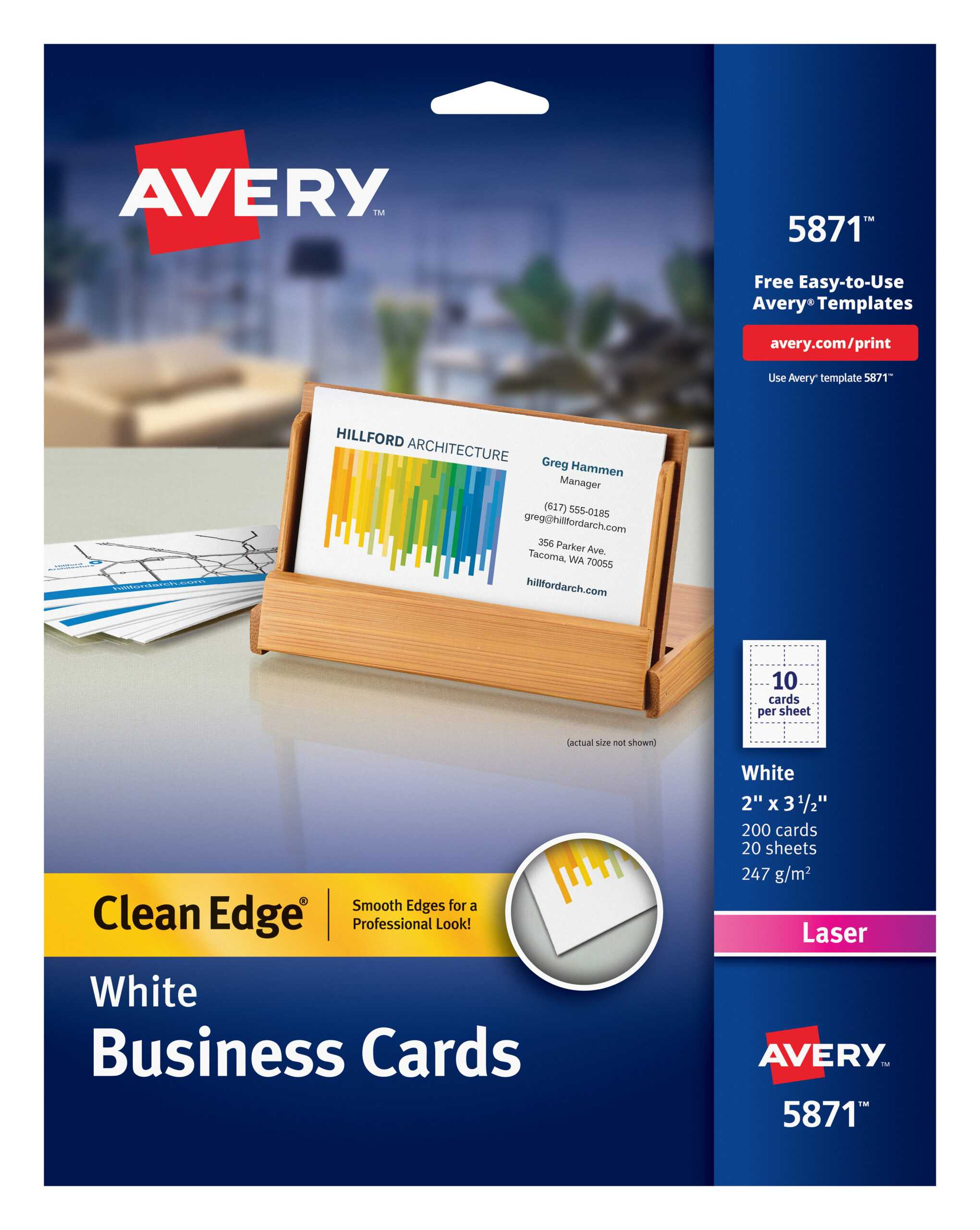 "Avery Clean Edge Business Cards, Uncoated, Two Side Printing, 2"" X 3 1/2"",  200 Cards (5871) – Walmart Inside Office Depot Business Card Template"