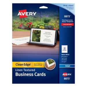 "Avery® Inkjet Clean-Edge Business Cards, 2-Sided, 2"" X 3 1/2"", White Linen,  Pack Of 200 regarding Office Depot Business Card Template"