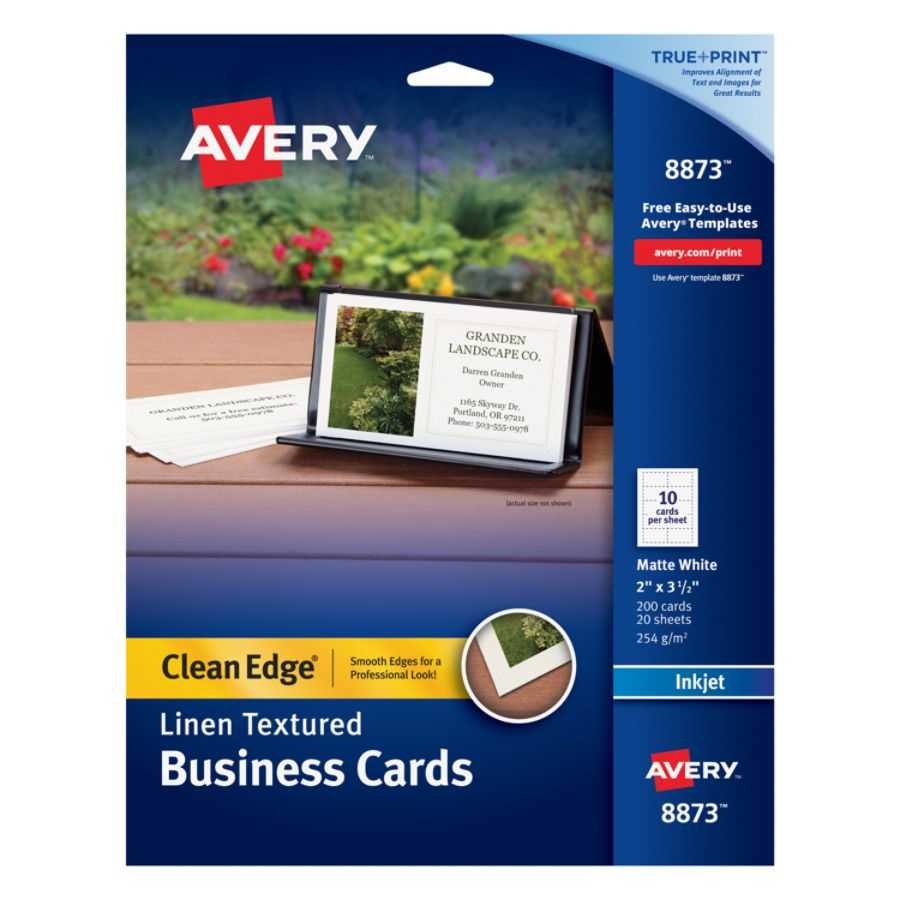 """Avery® Inkjet Clean Edge Business Cards, 2 Sided, 2"""" X 3 1/2"""", White Linen,  Pack Of 200 Regarding Office Depot Business Card Template"""