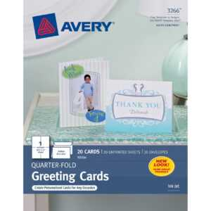 "Avery® Inkjet Print Greeting Card – 4 1/4"" X 5 1/2"" – Matte – 20 / Pack –  White inside Quarter Fold Greeting Card Template"