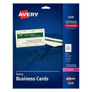 "Avery® Laser Microperforated Business Cards, 2"" X 3 1/2"", Ivory, Pack Of 250 intended for Office Depot Business Card Template"