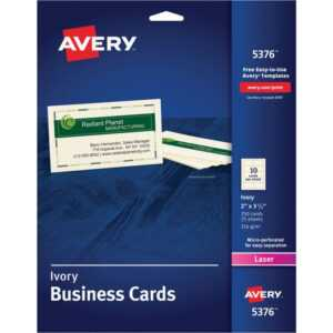 "Avery® Laser Microperforated Business Cards, 2"" X 3 1/2"", Ivory, Pack Of 250 with Office Depot Business Card Template"